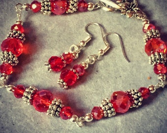 Red crystal and silver bracelet and earrings set