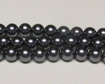 14mm Dark Gray Glass Pearls One strand 14mm glass pearls #14DGYGP Swarovski quality at half the price High Quality 14mm glass pearls
