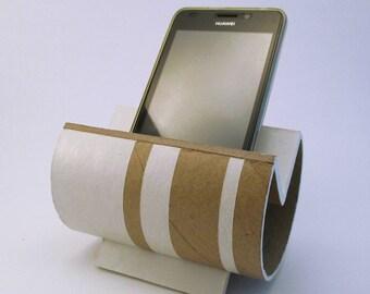 Porte smartphone design en carton recyclé avec lignes blanches - Modèle unique
