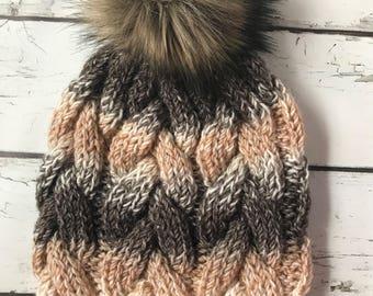 Cable Knit Hat, Chunky Cable Knit Hat, Knit Hat, Knit Hat With Pom Pom, Hand Knit Hat, Winter Hat, Faux Fur Pom Pom