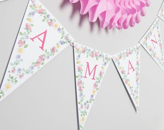 Bespoke Floral Bunting // Party Decoration // Wedding Party Bunting // Card Bunting