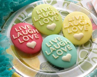 Websters Pages - Perfect Accents - Resin Embellishment Pieces - Live Laugh Love Cameos Cabochon. Scrapbooking, cardmaking.