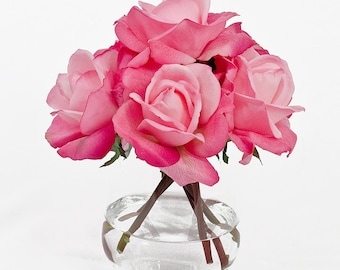 Real Touch Artificial Rose Arrangement with Faux Pink Roses Silk Flowers in Oval Glass Vase for Home Decor and Houseware Flower