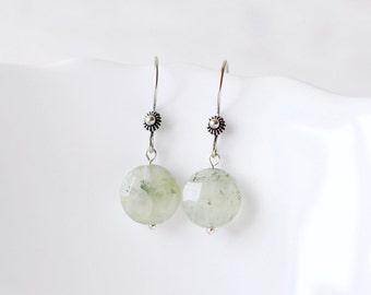 Light green round prehnite earrings green earrings green jewelry gemstone earrings gemstone jewelry silver earrings summer earrings holiday