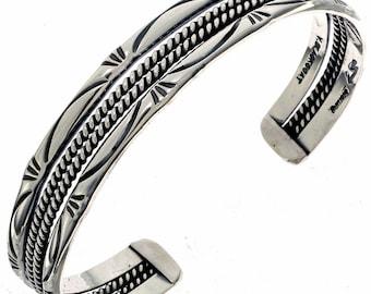 Navajo Hammered Silver Cuff Twist Wire Bracelet
