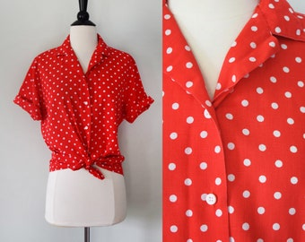 Vintage red and white polka dot button up blouse / short sleeve cotton collared shirt