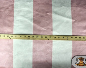"""Suede STRIPE Pink and Ivory Fabric / 60"""" Wide / Sold by The Yard"""