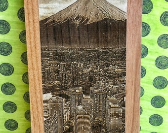 Engraved Mt. Fuji Tokyo Skyline