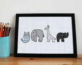New Baby Print -A3 - nursery art - children's art - nursery print - cute animal print - nursery decor - kids room - baby girl - baby boy