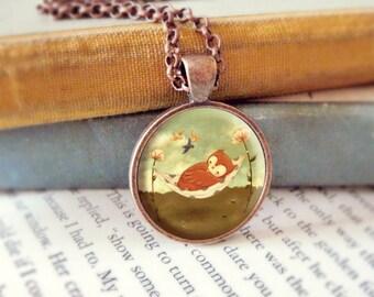 Owl Necklace, Owl Pendant, Owl Jewelry, Owl Animal Necklace, Animal Jewelry, Kids Jewelry Children, Baby Owl, Owl Art, Owl - Naptime Owl