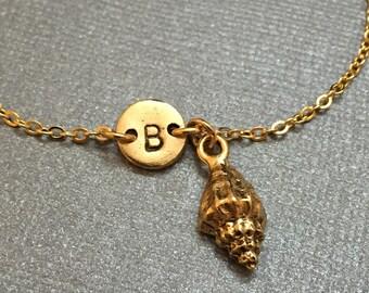 Conch shell charm bracelet, conch shell charm, adjustable bracelet, sea shell, personalized bracelet, initial bracelet, monogram