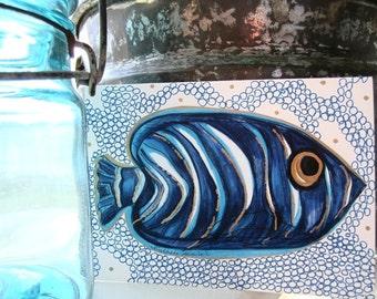 Indigo Fish Art - Blue Tropical Wall Decor - Striped Fish Original Drawing Giclee Print - 8x10 Sea Life Print