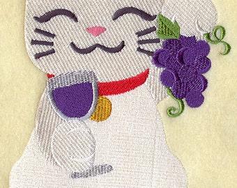 Maneki Cat and Wine Embroidered Flour Sack Hand/Dish Towel