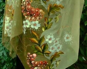 Scarf.Natural silk scarf - floral, rowan-tree beige hand painted scarf.