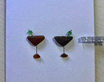 Sea Glass Greeting Card- Martini Glasses