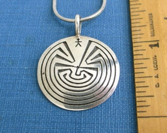 Navajo Sterling Silver Man in the Maze Pendant Necklace - Vintage, Signed ATTAKAI