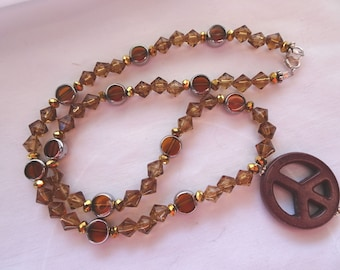 "17 1/4"" Hand Crafted Necklace Brown Glass Beads Magnesite Peace Sign Dark Brown Sterling Silver Clasp N39"