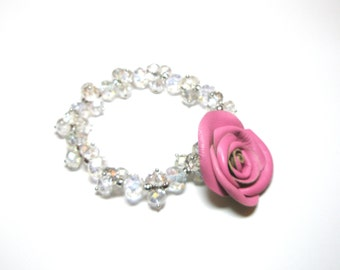 leather rose bracelet -3rd Anniversary gift for her Flower Bracelet  Pink Leather  Rose  Beaded White Stone  Semi Precious