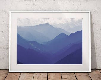 Mountain Wall Art, Landscape Photography Blue Mountains Nature Art Large Wall Art Print Mountain Print Mountain Poster Digital Download