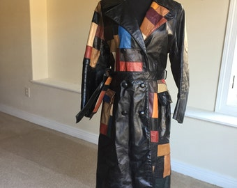 Black Leather Patchwork Trench Coat 1970
