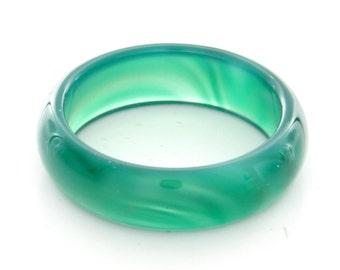 Natural Green Agate Gemstone Plain Band Ring