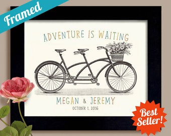 Adventure Awaits Wedding Gift for Newlywed Couple, Wedding Sign Personalized Wedding Present, Tandem Bicycle for Two Framed Art Print