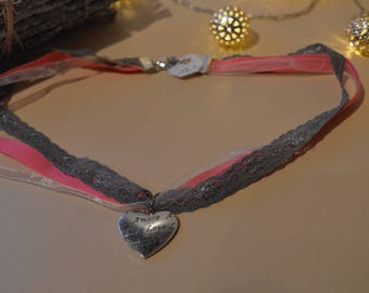 Ribbon and heart charm necklace