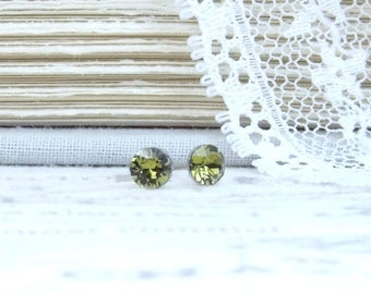 Olive Green Studs 4mm Earrings Green Crystal Studs Dainty Studs Green Stud Earrings Surgical Steel