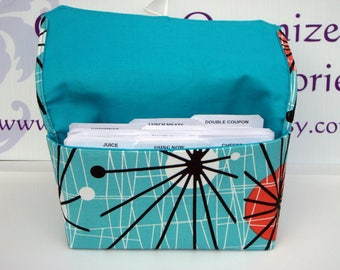 Coupon Organizer /Budget Organizer Holder  / Attaches To You Shopping Cart - Turquoise Atomic with Turquoise Lining