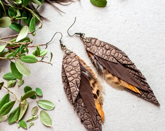 Brown Leather Feather Earrings, Long leather feathers earrings, Boho feathers Earrings,  Boho Festival earrings, Boho Jewelry, Gift for mom