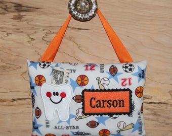 Personalized tooth fairy pillow,Sports tooth fairy pillow,Football,Basketball,Soccer,Sports,Baseball, SHIPS NEXT DAY