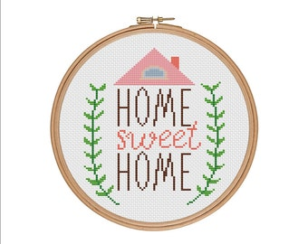 Home sweet home, Home cross stitch, Cross stitch pattern, Easy counted chart, Cross stitch, Subversive cross stitch, Counted cross stitch