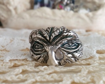 mythical green man comes alive as fine silver hand sculpted ring