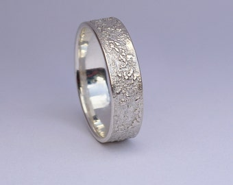 Silver Chaos - Shiny Sterling Silver Wedding Band, for Men or for Women