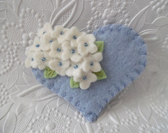 Felt Flower Brooch Mothers Day Heart Beaded Jewelry Felted Pin
