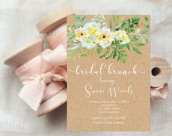 Word document etsy white floral kraft paper edit yourself invitation ms word 5x7 size document diy floral invitation kraft paper instant download m4hsunfo