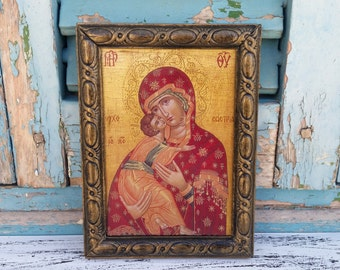 Madonna and Child, Madonna Icon, Virgin Mary,Carved Wood Frame,Carved Wood Decor,Icon Wall Decor, Religious Present,Easter Gift Idea,St Mary