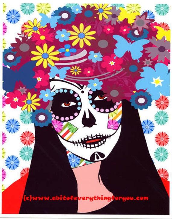 skull flower girl Day Of The Dead original art abstract pop art skulls skeleton art Dia de los muertos original digital art flower skull