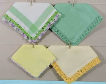 Green and Yellow Vintage Hankies / Crochet Edged Hankerchiefs / Landies Hankies