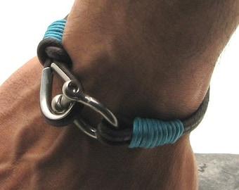 Gift For Men, Men's leather bracelet, Brown leather cord men's leather bracelet with horseshoe clasp, Gift for him