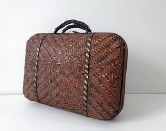 Vintage woven bag, bamboo tote case