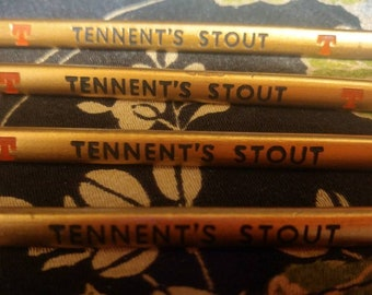 Set of 4 vintage Tennent's Stout Beer Gold Advertising Pencils