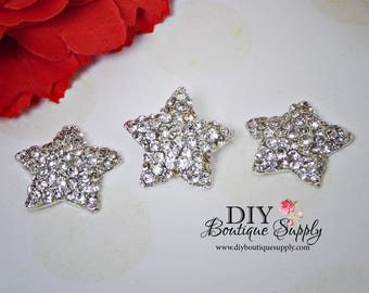 Cute Rhinestone Stars buttons Clear Crystal Embellishment Flatback for Headbands flower centers  bouquets Bridal weddings and 23mm N150
