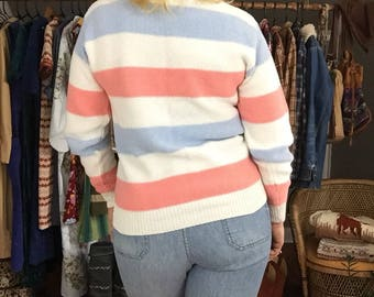 Striped Cotton Sweater by American Eagle Outfitters - Vintage Woman's Size Medium Clothing '80s Fashion