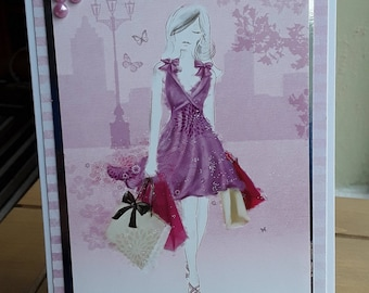 Greeting Card Lady Shopping