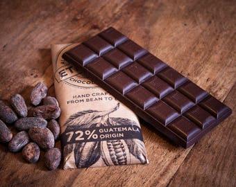 Craft Chocolate 72% Single Origin, Guatemala, Vegan Dairy Free Dark