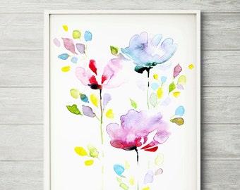 Flower painting, watercolor flower, watercolor flower print, abstract flower, flower art, purple flower, floral print, watercolor art