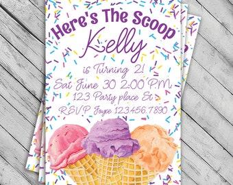 Ice Cream Invitation, Ice Cream Birthday party, Sprinkles Ice Cream Cone, Summer Pool party Invite, First Birthday, Girl, Custom, Digital