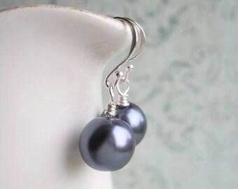 Thunder Grey Earrings, Faux Pearl Earrings, Swedish Jewelry Design, Made in Sweden