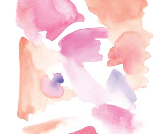Pink and Purple Abstract Watercolor Print